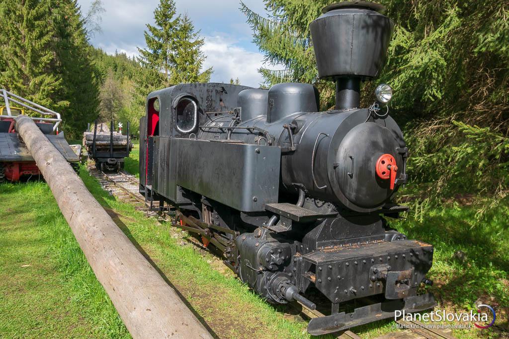 Parná lokomotíva v skanzene Vydrovo.